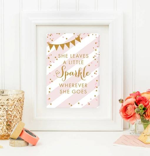image about She Leaves a Little Sparkle Wherever She Goes Free Printable referred to as Totally free Nursery Indicator 5x7 She Leaves a Minor Sparkle Blush Red