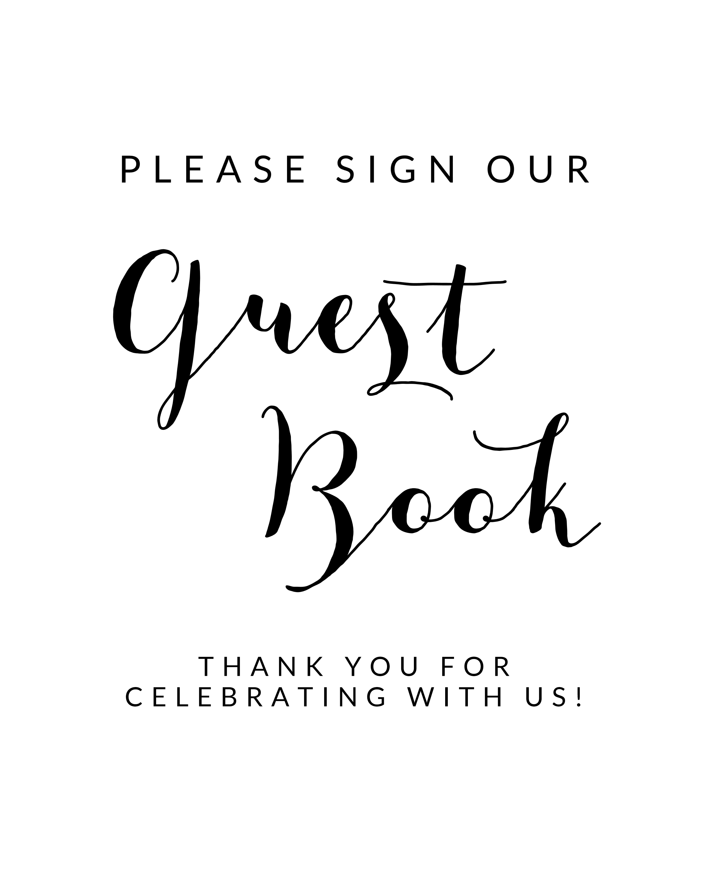 Free Black And White Printable Wedding Guest Book Sign Instant Download Printable Market