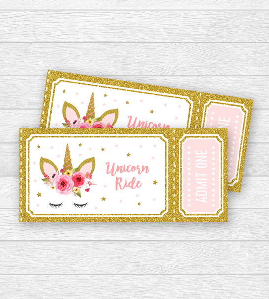 Unicorn Birthday Party Ride Tickets Admit One Pink Gold Glitter Printable Instant Download
