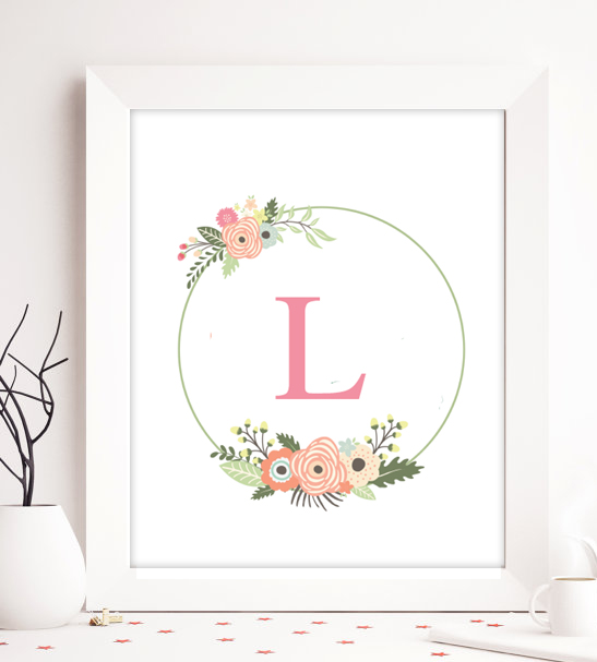 Free editable monogram baby nursery decor wreath for Art decoration pdf