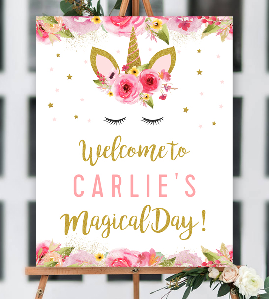Free Editable Unicorn Birthday Party Welcome 8x10 Sign