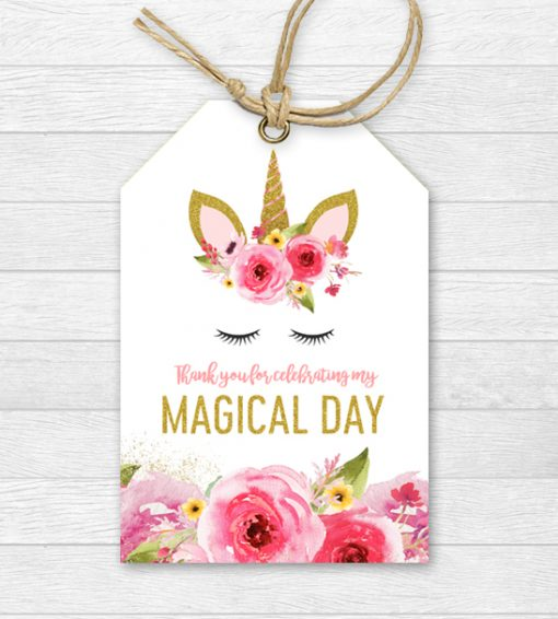 Unicorn Birthday Magical Day Thank You Tags - Pink Gold Glitter - Printable  Instant Download