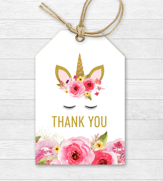 Free Unicorn Birthday Thank You Tags – Pink Gold Glitter – Printable Instant Download