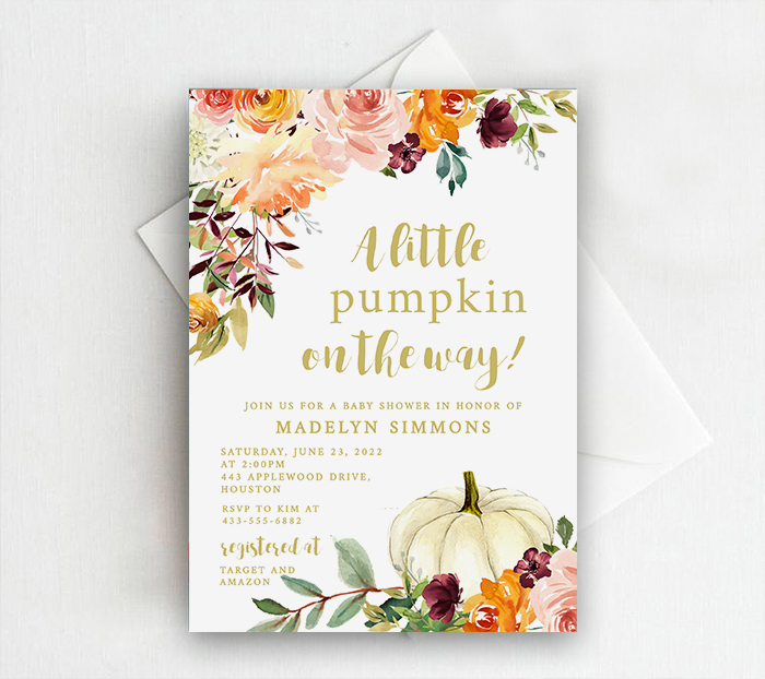 EDITABLE INSTANT DOWNLOAD A Little Pumpkin is on the way Drive-by or Outdoor Baby Shower Invitation 0214 Baby Boy Shower